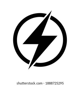 Lightning electric icon, Bolt circle symbol, Power charging energy sign, Vector illustration