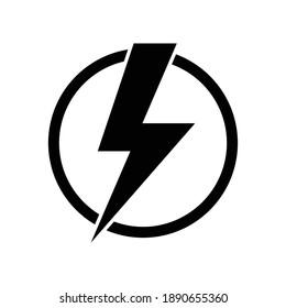 Lightning electric icon, Bolt circle symbol, Power charging energy sign, Vector illustration