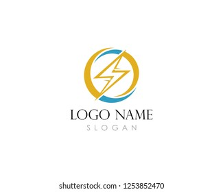 Lightning, electric power vector logo design element. Energy and thunder electricity   symbol concept.