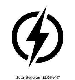 Lightning, Electric power vector logo design element. Energy and thunder electricity symbol concept. Lightning bolt sign in the circle. Flash vector emblem template. Power fast speed vector.