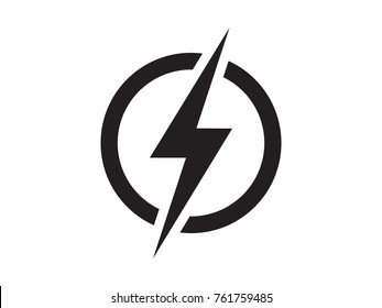 Lightning, electric power vector logo design element. Energy and thunder electricity symbol concept. Lightning bolt sign in the circle. Flash vector emblem template. Power fast speed logotype