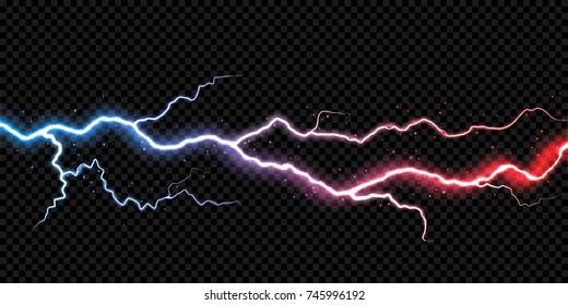 Lightning electric thunder storm light flash. Vector realistic lightning rain weather thunderbolt on black transparent background. Neon color energy electricity light flash or spark burst effect.