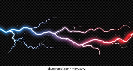 Lightning electric thunder storm light flash. Vector realistic lightning rain weather thunderbolt on black transparent background. Neon color energy electricity light flash or spark burst effect.