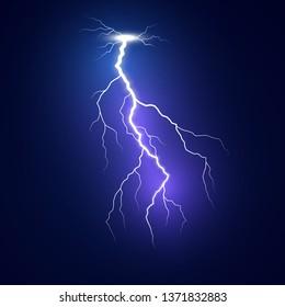 Lightning flash bolt. Blue lightning template. Thunderbolt isolated on dark background. Vector illustration
