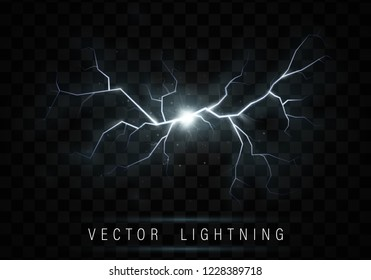 Lightning flash bolt. lightning Magic and bright light effects.  Vector realistic lightning rain weather thunderbolt on black transparent background. Neon color energy