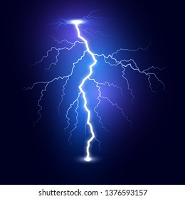 Lightning flash bolt. Thunderbolt isolated on dark background. Blue lightning template. Vector illustration