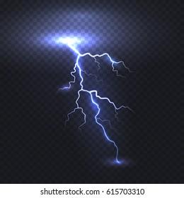 Lightning flash bolt or thunderbolt isolated on transparent background. Vector electric light thunder spark. Blue lightning or magic power blast storm template for your creative design