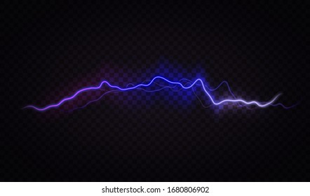 Lightning flash effect. Realistic electric lightning, abstract thunderstorm. Lightning shock isolated on transparent background. Vector