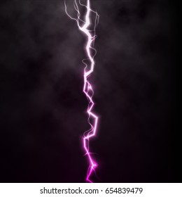 Lightning flash light thunder spark on black background with clouds. Vector spark lightning or electricity blast storm or thunderbolt in sky. Natural phenomenon of human nerve or neural cells system.
