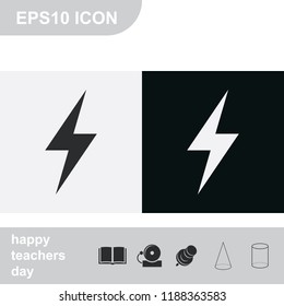 Lightning flat black and white vector icon.
