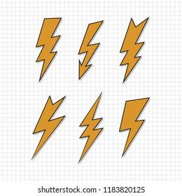 Lightning flat icons set on paper background