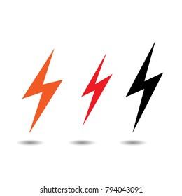 Lightning flat icons set. Simple icon storm or thunder and lightning strike isolated.