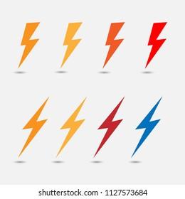 Lightning flat icons.  Simple icon storm or thunder and lightning strike isolated.