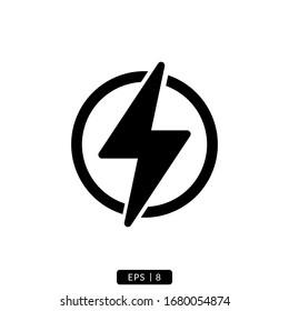 lightning glyph icon vector logo illustration simple design.