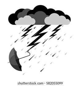 Lightning and heavy rain with falling umbrella icon in flat style on white background. Vector illustration of bad weather condition. Dark clouds with falling raindrops and lightning arrows