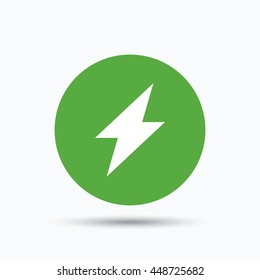 Lightning icon. Electricity energy power symbol. Flat web button with icon on white background. Green round pressbutton with shadow. Vector