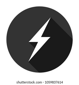 Lightning icon. Energy vector icon, lightning sign. charge flat symbol on gray background. Round icon with shadow