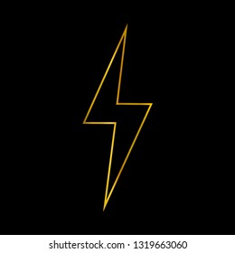 Lightning icon with golden line style isolated on black background