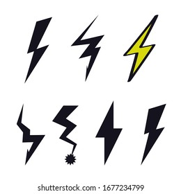 Lightning icon logo flash sign doodle creative cartoon design. Modern, children's style. Fashion print for clothes, cards, picture, poster, banner for websites. Vector illustration