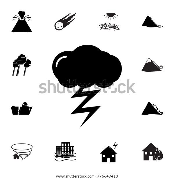 Lightning Icon Set Natural Disasters Icons Stock Vector