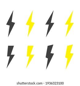 Lightning icon set. Storm icon set