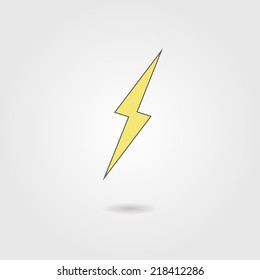 lightning icon with shadow. vector illustration