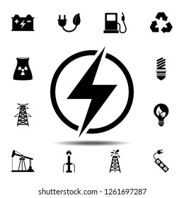 Lightning icon. Simple glyph vector element of energy icons set for UI and UX, website or mobile application