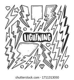 Lightning Icons Hand Drawn Doodle Coloring Vector