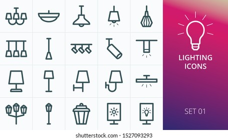 Lightning icons set. Set of loft track spots, metal pendants, wall sconce, floor lamp, torchere, lightbox, back light, ceiling chandelier, street lights isolated vector icons