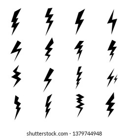 Lightning icons set. Vector symbols collection on white backgound