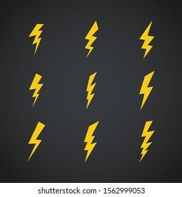 Lightning icons set. Vector symbols set on dark