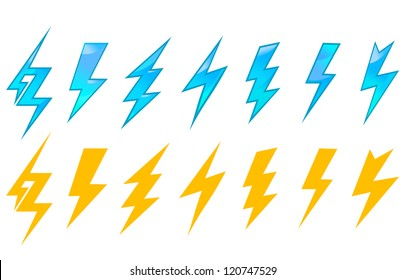 Lightning icons and symbols set isolated on white background. Jpeg version also available in gallery