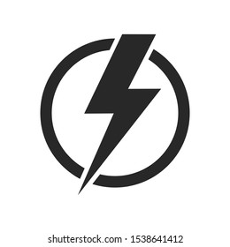 Lightning isolated vector icon. Electric bolt flash icon. Power energy symbol. Thunder icon. Circle concept. EPS 10