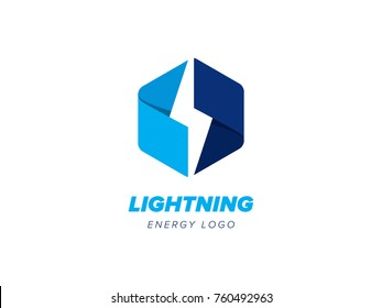 Lightning logo concept negative space style, constructed from ribbons. Energy and electricity symbol. Thunder sign in hexagon. Power and electric emblem. Flash fast speed logo vector template