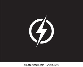 Lightning logo design element. Energy and thunder electricity symbol concept. Lightning bolt sign in the circle. Power and electric emblem. Flash icon vector template. Power fast speed logotype