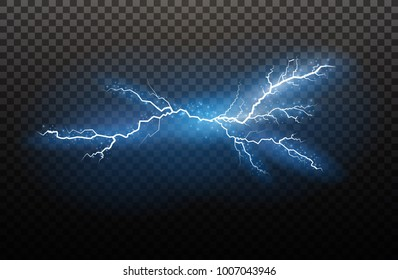 lightning Magic and bright light effects. Vector illustration. Discharge electric current. Charge current. Natural phenomena. Energy effect illustration. Bright light flare and sparks