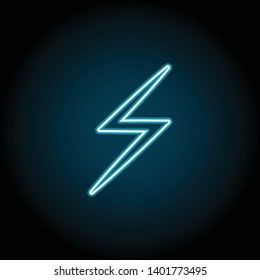 lightning neon icon. Simple thin line, outline vector of Weather icons for UI and UX, website or mobile application on dark blue gradient background