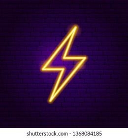 Lightning Neon Label. Vector Illustration of Trendy Promotion.