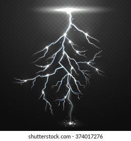 Lightning on black background with transparency for design.Vector