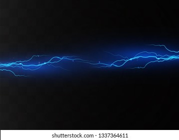 Lightning on a transparent background. Electric discharge and current. Magic and bright lighting effects. light blue. Vector illustration