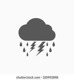 lightning rain cloud icon
