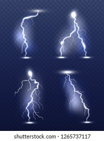 Lightning realistic. Energy glow special weather storm effects power electricity strike vector 3d symbols
