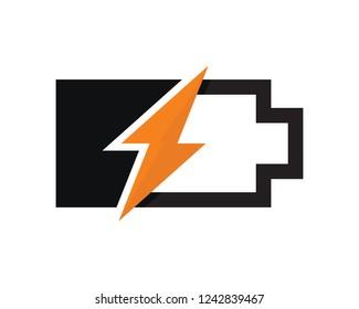 lightning recharge battery logo design