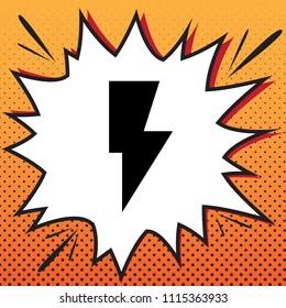 Lightning sign illustration. Vector. Comics style icon on pop-art background.