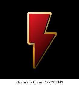 Lightning sign illustration. Vector. Red icon with small black and limitless shadows at golden sticker on black background.