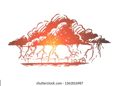 Lightning, strike, cloud, storm, thunderstorm concept. Hand drawn lightning strikes in time of thunderstorm concept sketch. Isolated vector illustration.