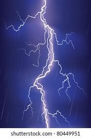 Lightning strike on dark blue sky.Vector image of danger