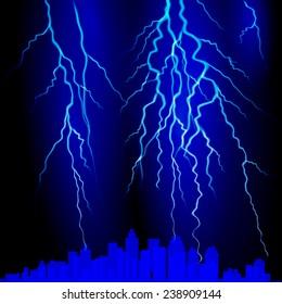 Lightning strike on the sky. Vector illustration