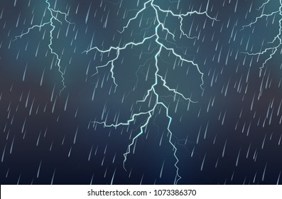 Lightning Strike and Rain Thunderstorm illustration