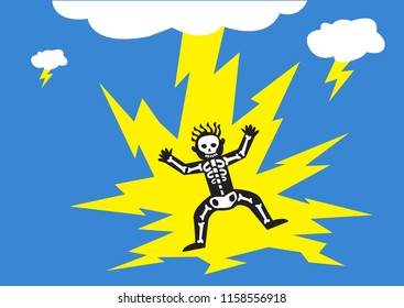 Lightning Strikes Man. Editable Clip Art.